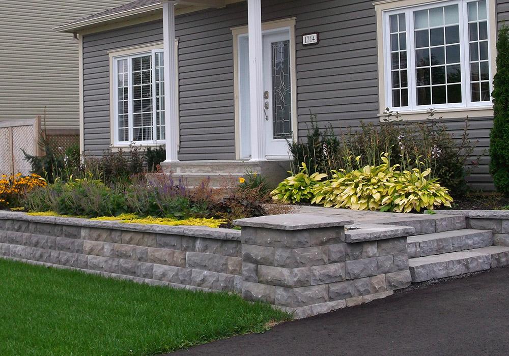 Mur de pierre muret de pierre ext rieur profil jardins for Amenagement avant maison